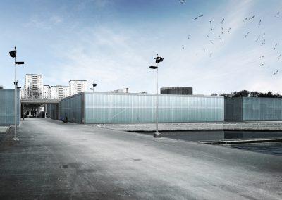 Bâtiment du décanteur à l'usine des eaux de la Ville de Paris, Joinville
